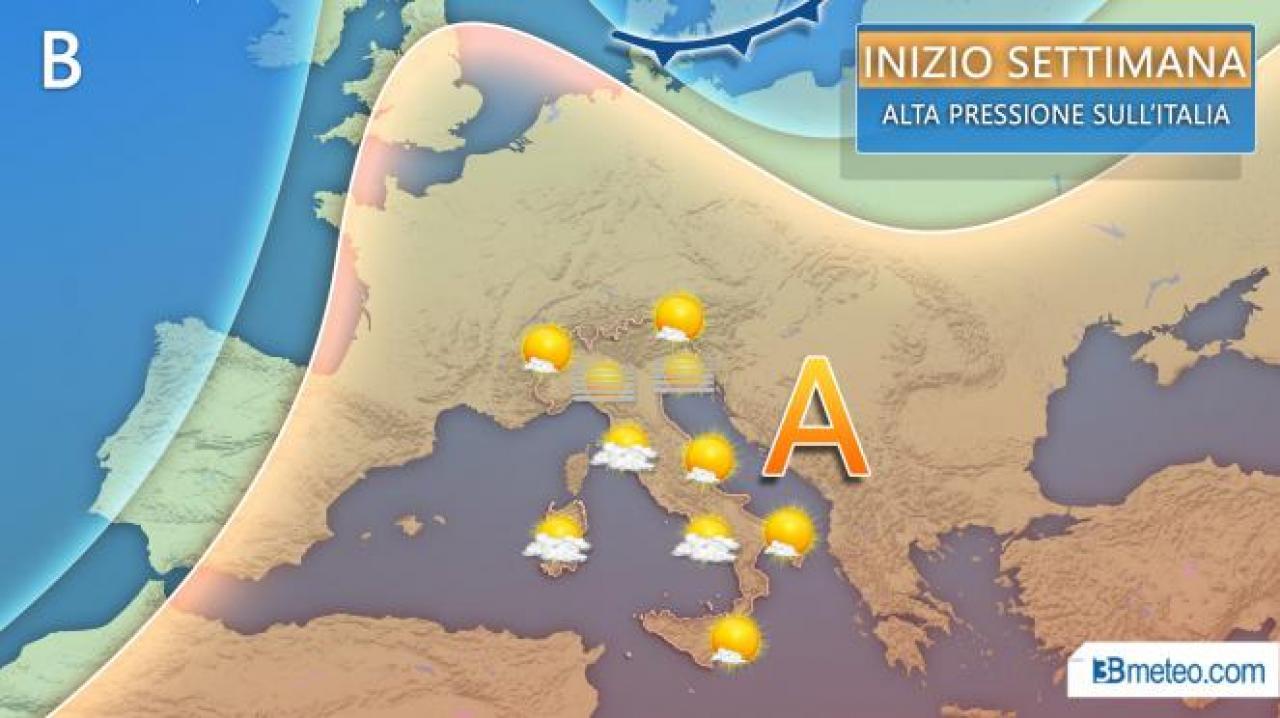 METEO Italia - ANTICICLONE SUBTROPICALE, ma nel FINE SETTIMANA possibile ondata di ARIA FREDDA al Sud, i dettagli
