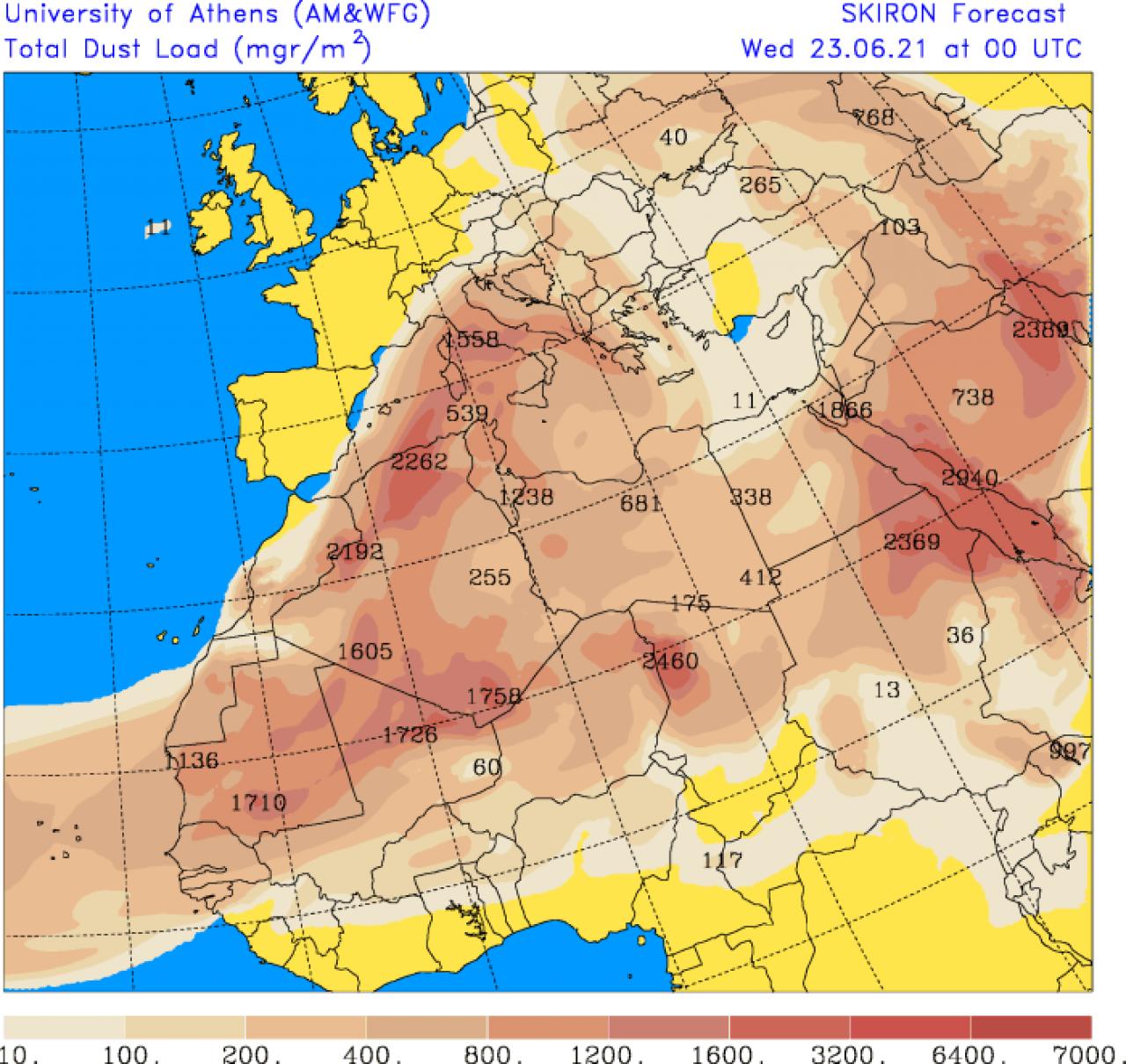 L'afflusso di polvere desertica previsto per mercoledì