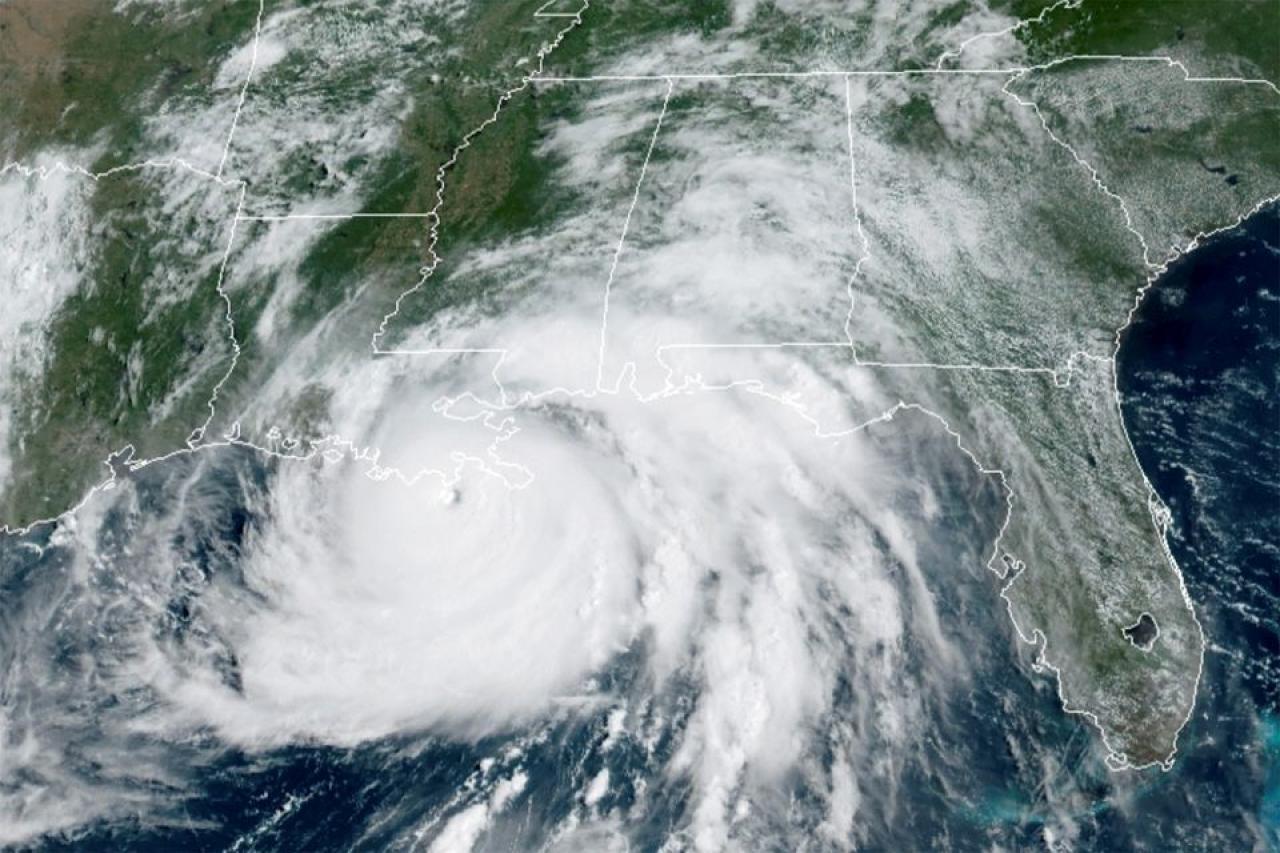 L'uragano Ida nel momento del landfall in Louisiana