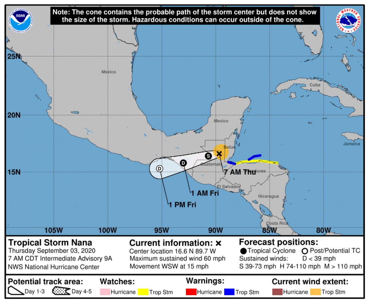 La possibile rotta di Nana con passaggio dall'Atlantico al Pacifico (Fonte: National Hurricane Service)
