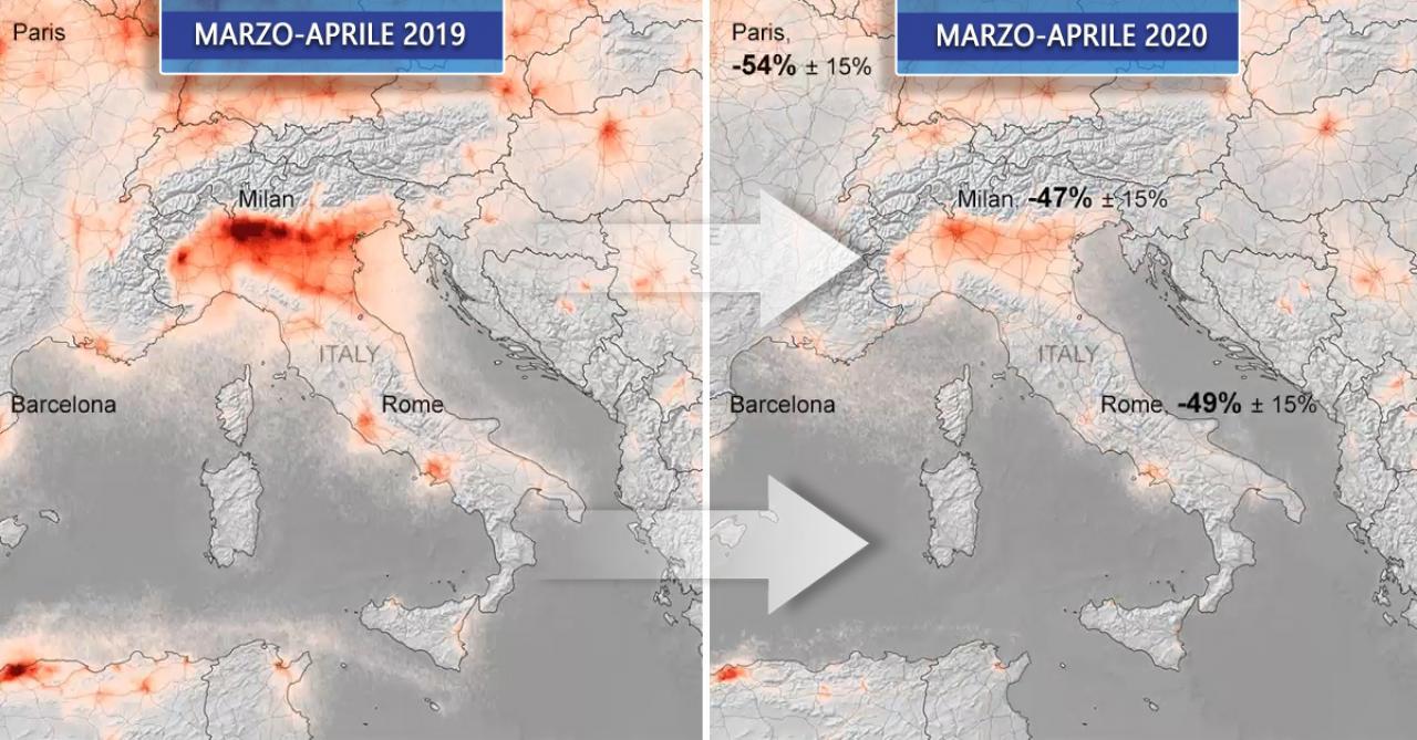La riduzione della concentrazione di biossido di azoto secondo le rilevazioni del satellite ESA/Copernicus Sentinel data (2019-20), elaborati dal KNMI/ESA
