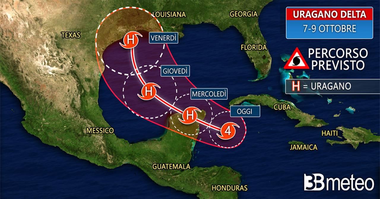 La rotta prevista dell'uragano Delta