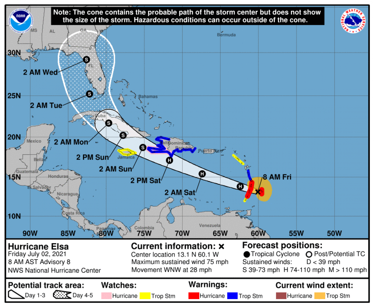 La rotta prevista dell'uragano Elsa (Fonte: National Hurricane Center)