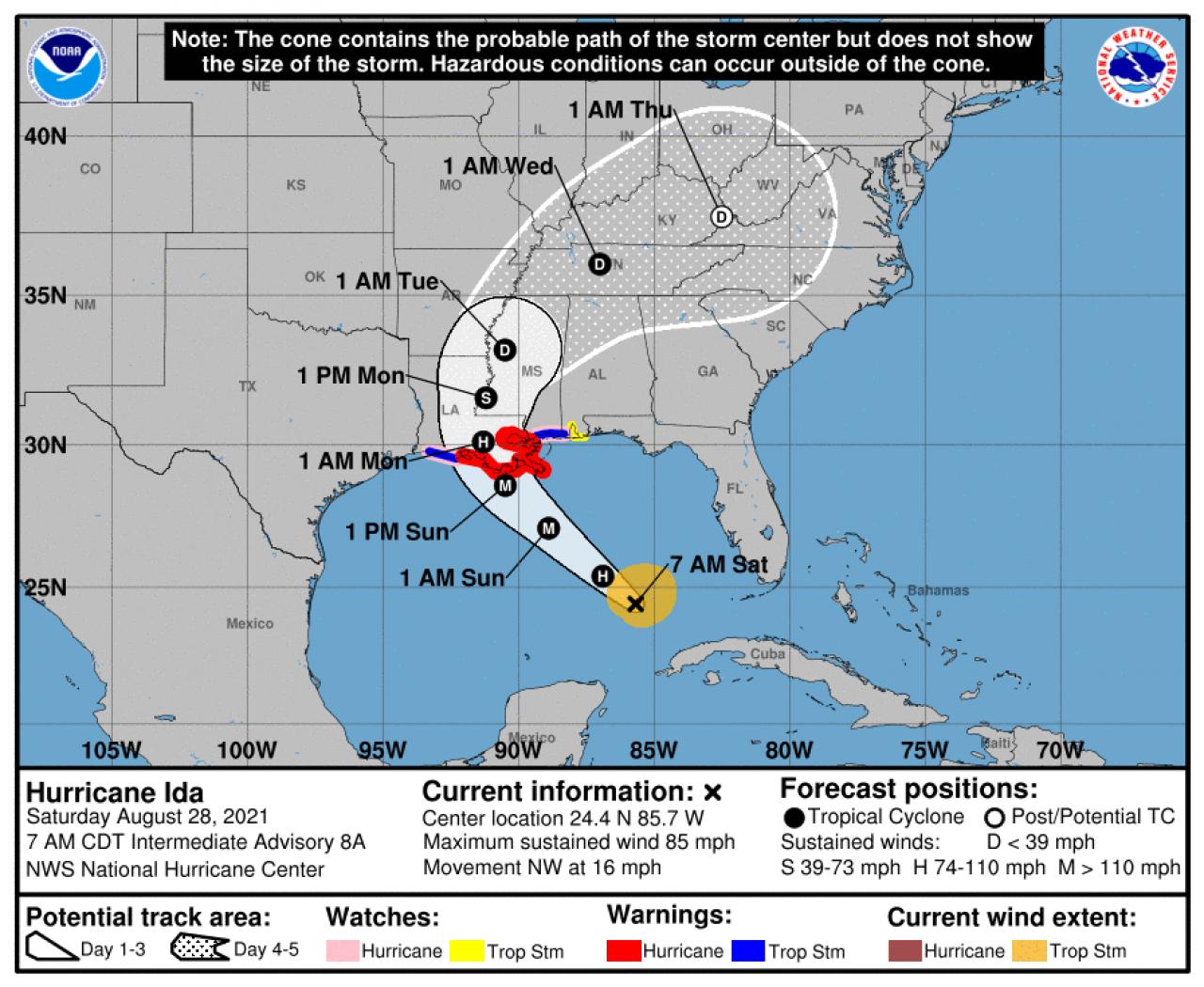 La rotta prevista dell'uragano Ida (Fonte: National Hurricane Center)