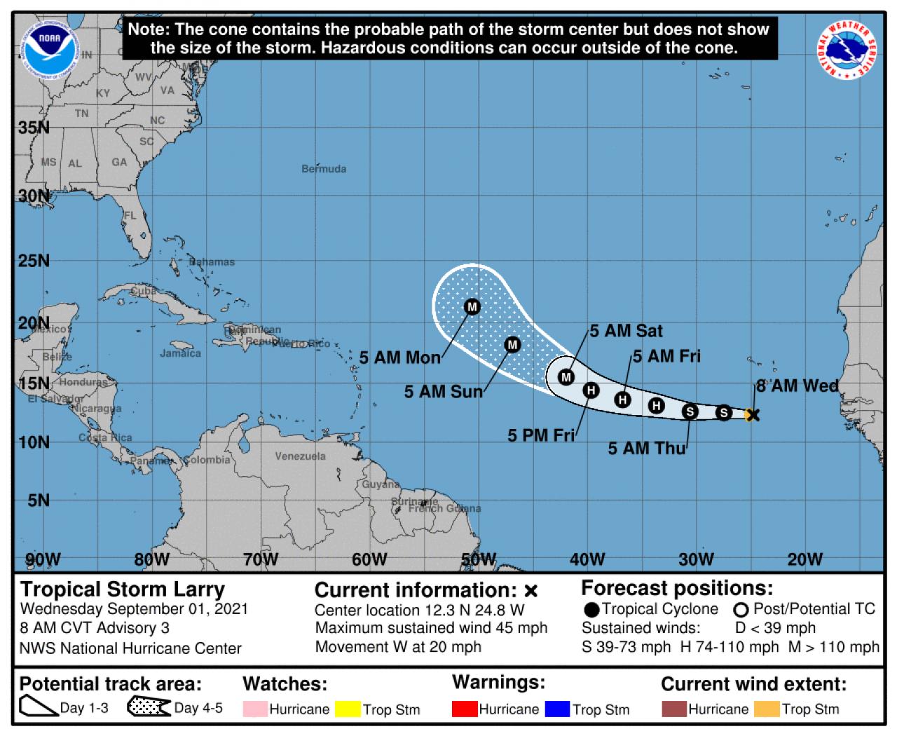 La rotta prevista dell'uragano Larry (Fonte: National Hurricane Center)