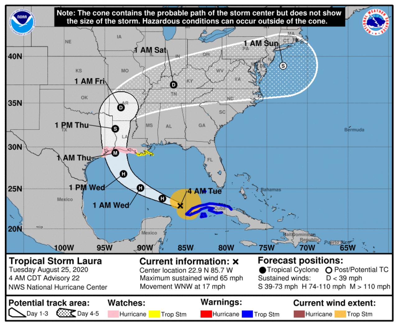 La rotta prevista dell'uragano Laura (Fonte: National Hurricane Service)