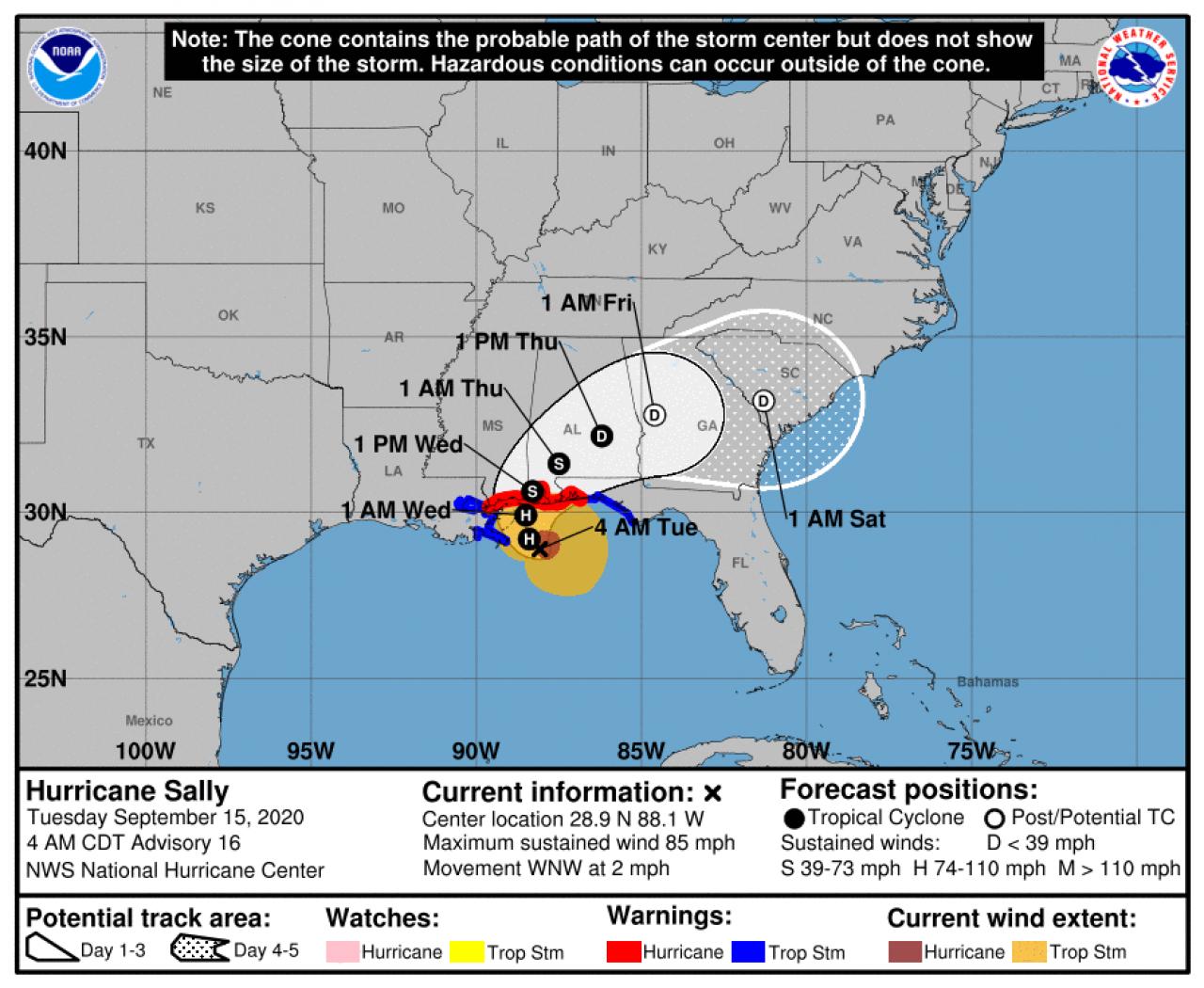 La rotta prevista dell'uragano Sally (Fonte: National Hurricane Center)