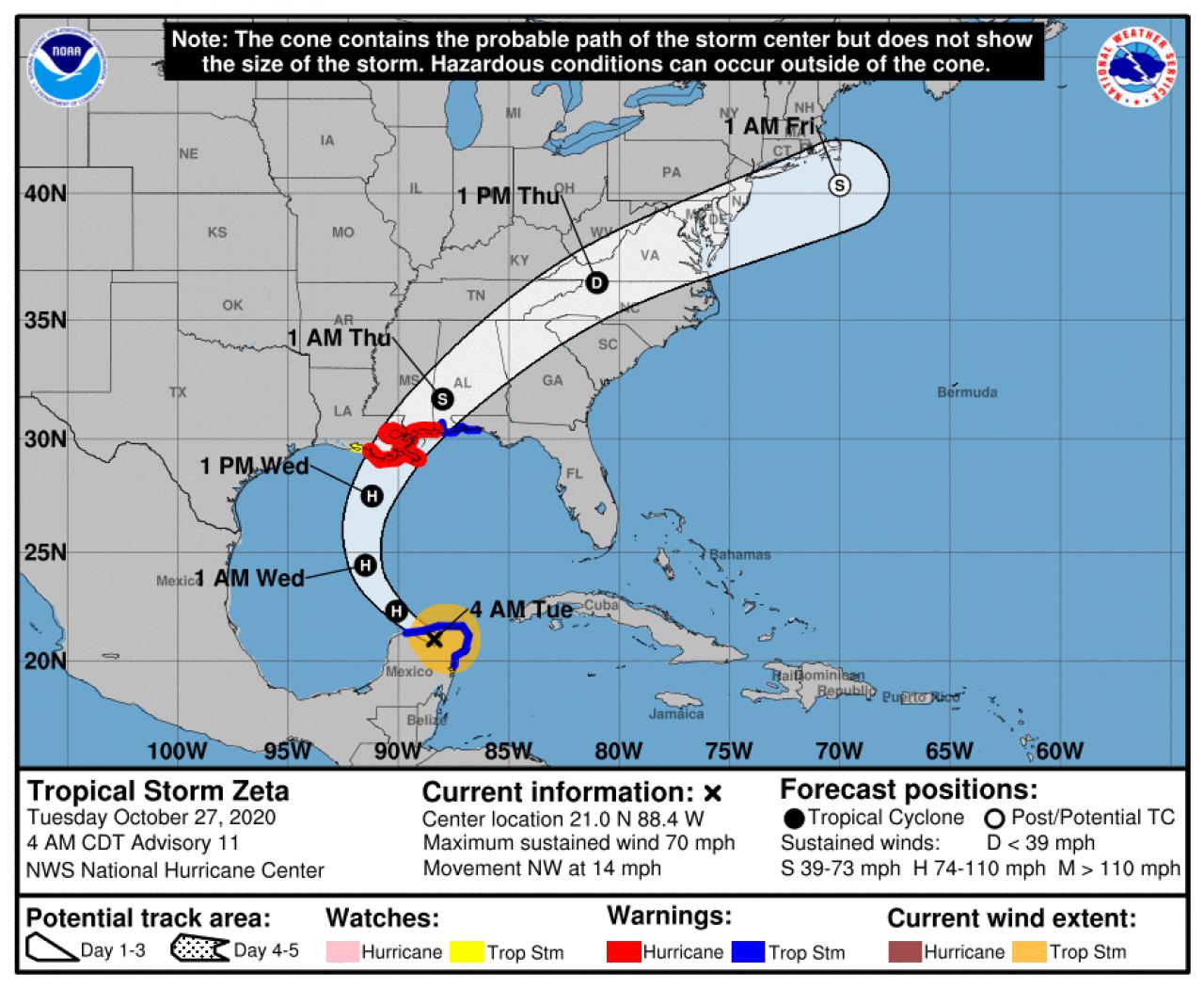 La rotta prevista dell'uragano Zeta
