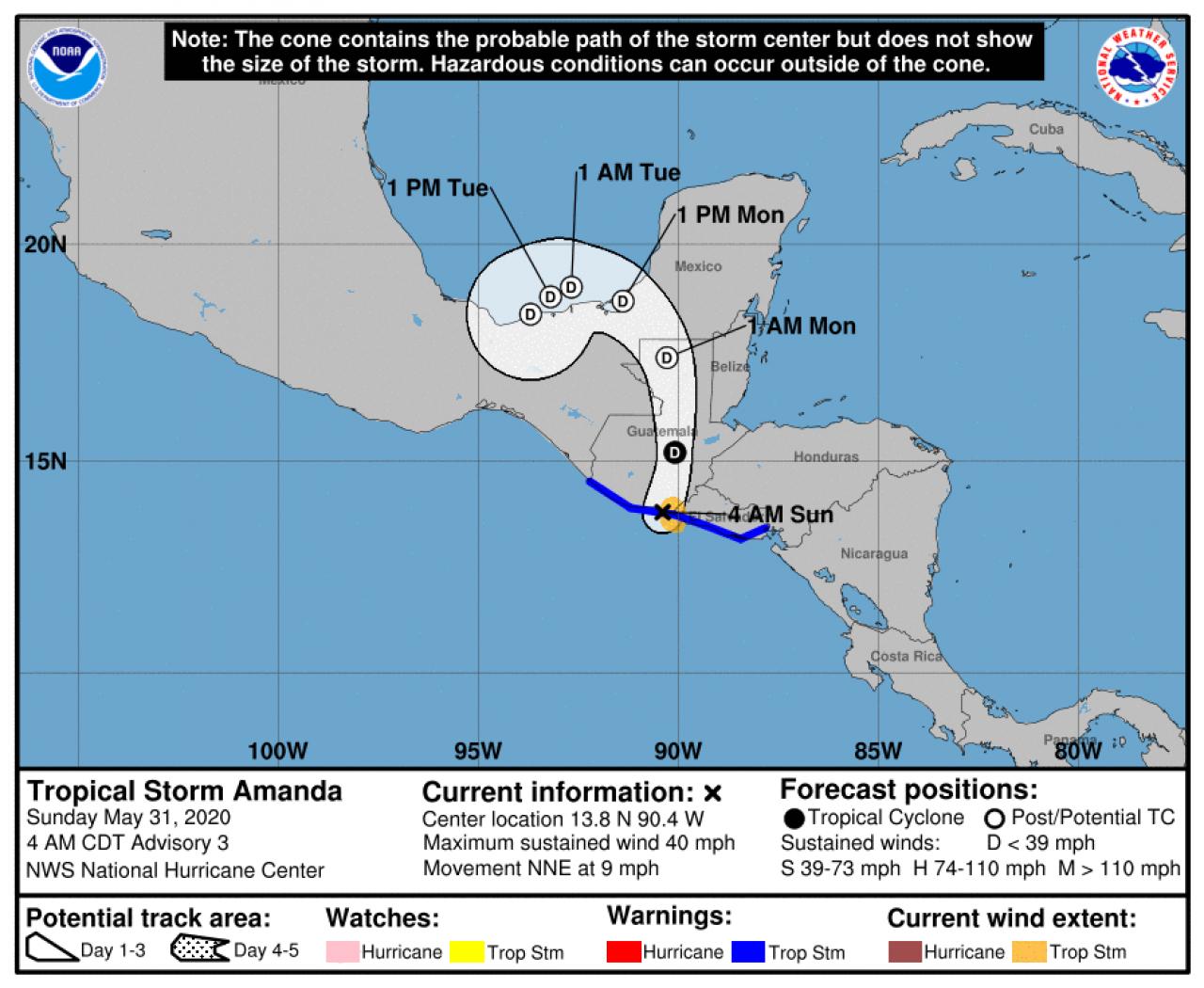 La rotta prevista di Amanda (Fonte: National Hurricane Center)