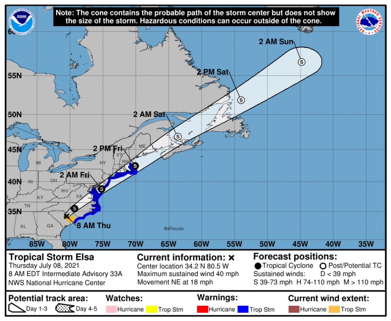 La rotta prevista di Elsa (Fonte: National Hurricane Center)