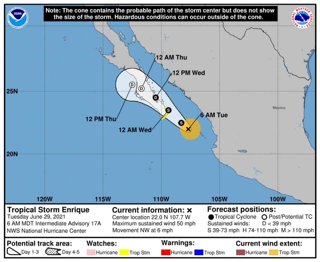 La rotta prevista di Enrique (Fonte: National Hurricane Center)