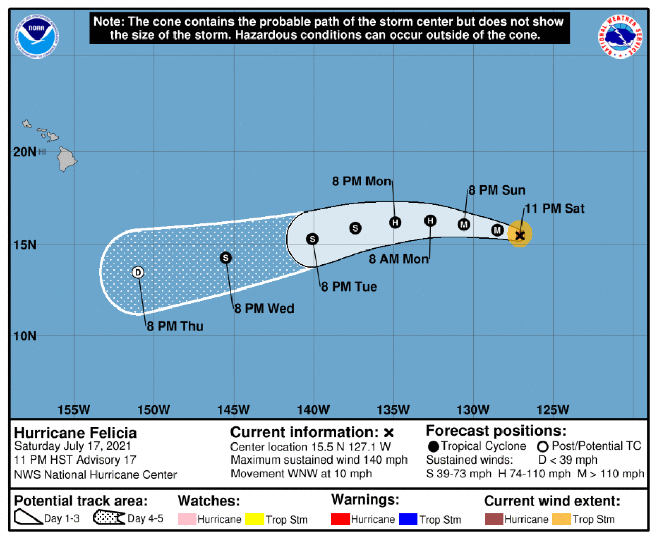 La rotta prevista di Felicia (Fonte: National Hurricane Center)