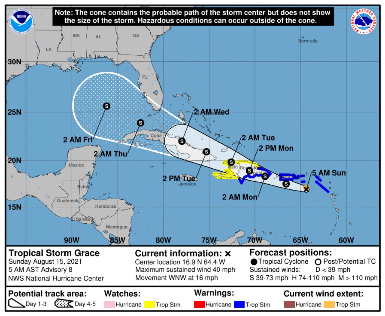 Camino planificado de Grace (Fuente: Centro Nacional de Huracanes)