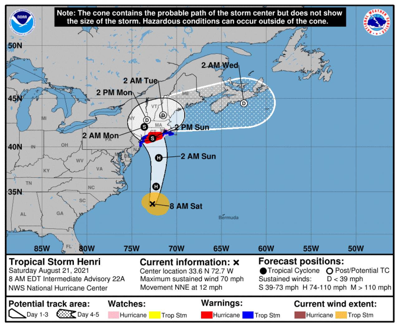 La rotta prevista di Henry (Fonte: National Hurricane Center)