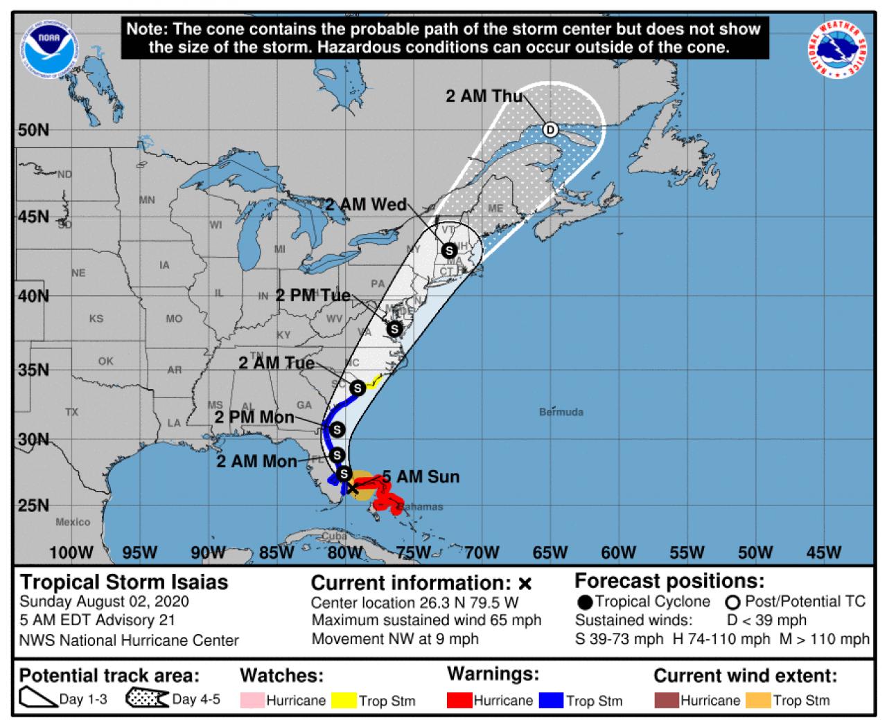La rotta prevista di Isaias (Fonte: National Hurricane Center)