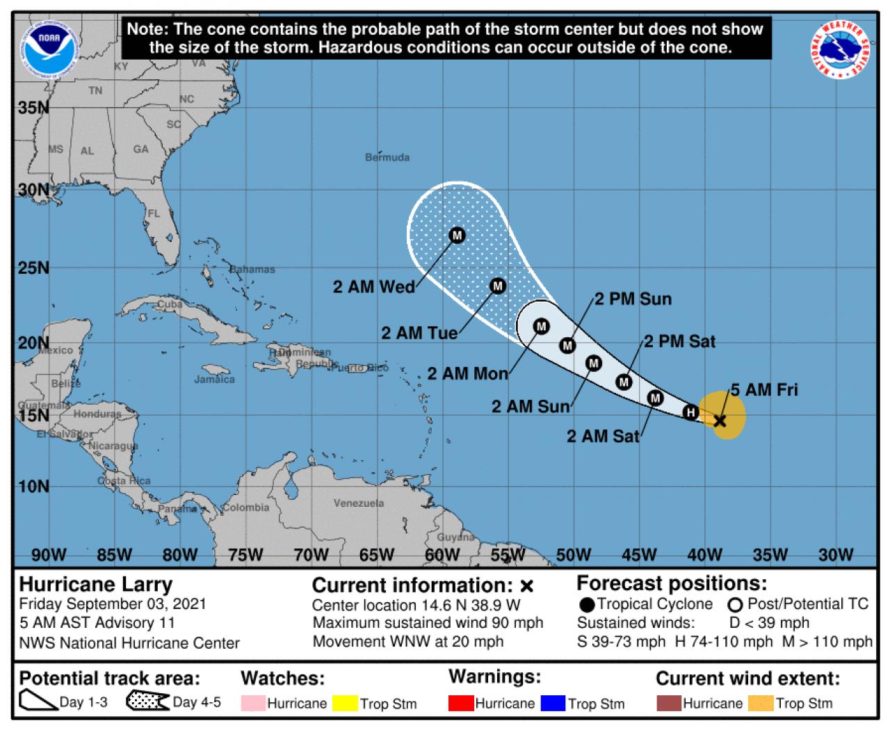 La rotta prevista di Larry (Fonte: National Hurricane Center)