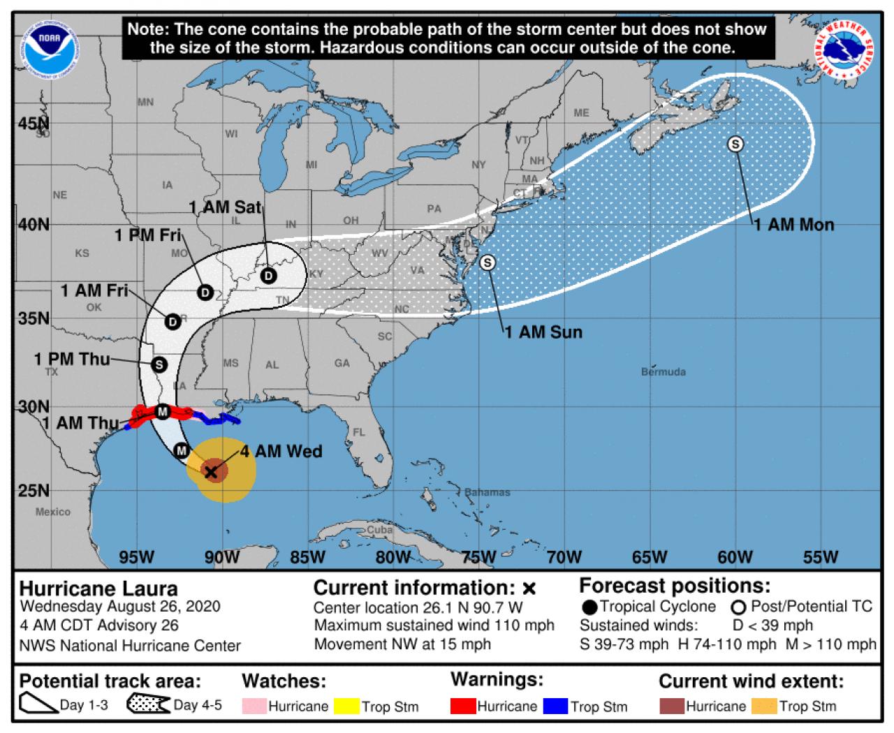 Dopo la paura il sollievo: l'uragano Laura scende di intensità