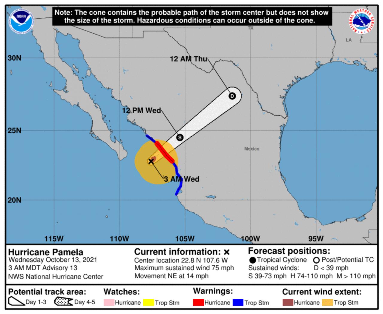 La rotta prevista di Pamela (Fonte: National Hurricane Center)