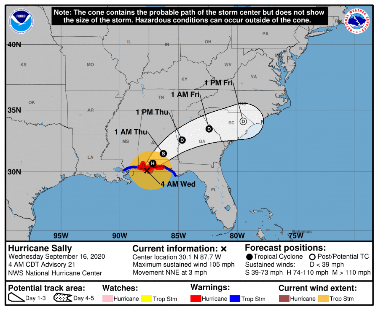 La rotta prevista di Sally (Fonte: National Hurricane Center)
