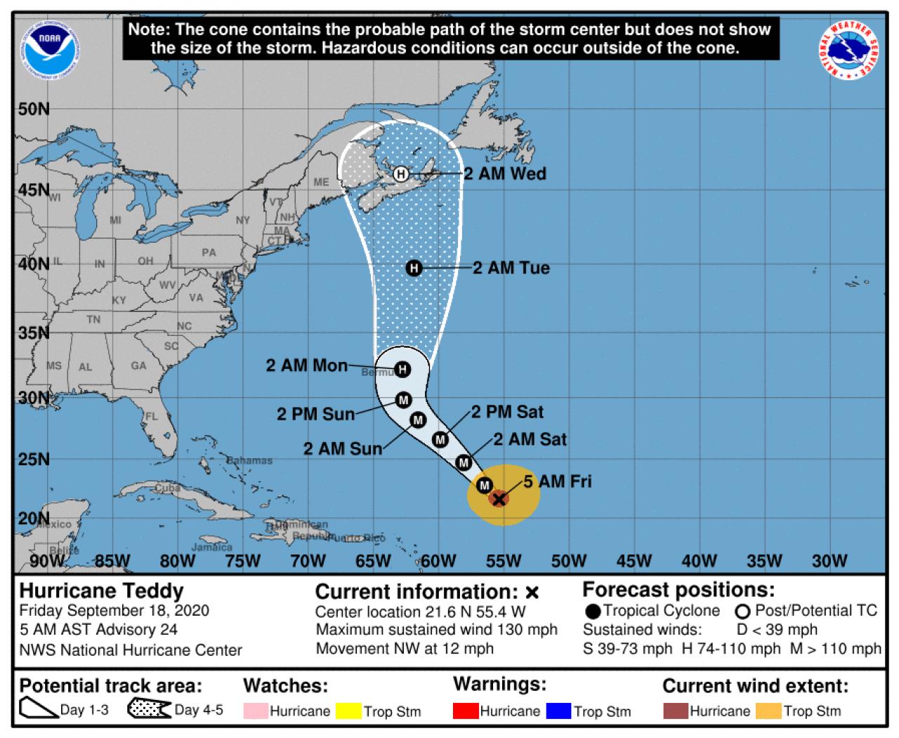 La rotta prevista di Teddy (Fonte: National Hurricane Center)