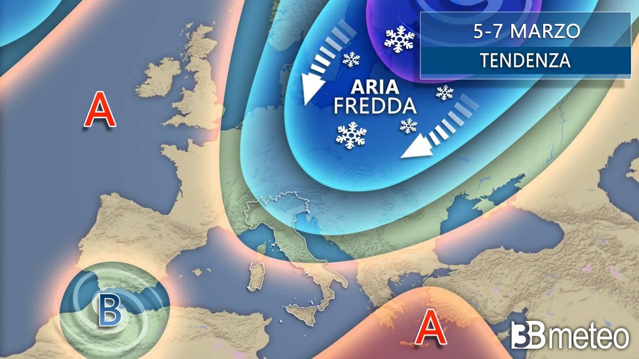 La tendenza meteo tra il 5 e il 7 marzo