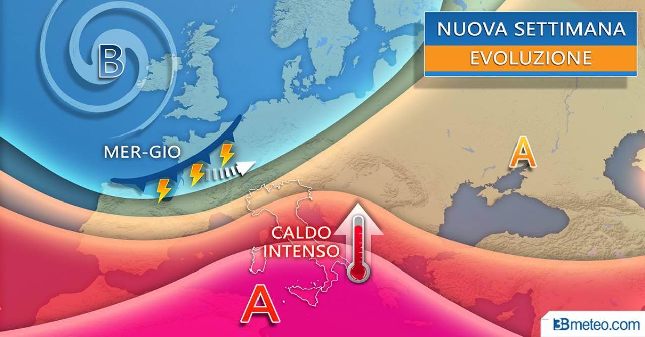 La tendenza per la prossima settimana: in arrivo il caldo intenso