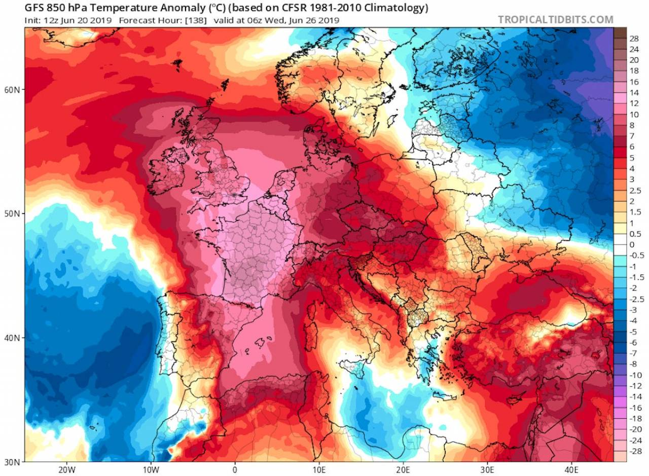 La terribile ondata di calore del 25-28 giugno 2019 (fonte immagine tropical tidbits.com)