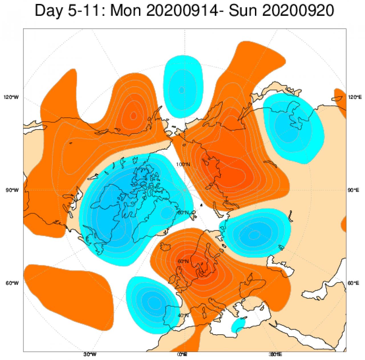 Le anomalie di geopotenziale a 500hPa secondo il modello ECMWF mediate nel periodo 14-20 settembre