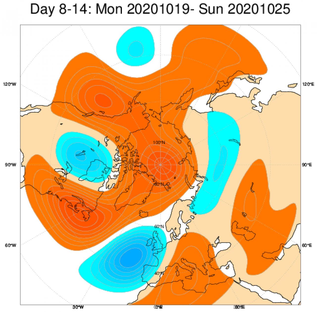 Le anomalie di geopotenziale a 500hPa, secondo il modello ECMWF, mediate nel periodo 19-25 ottobre
