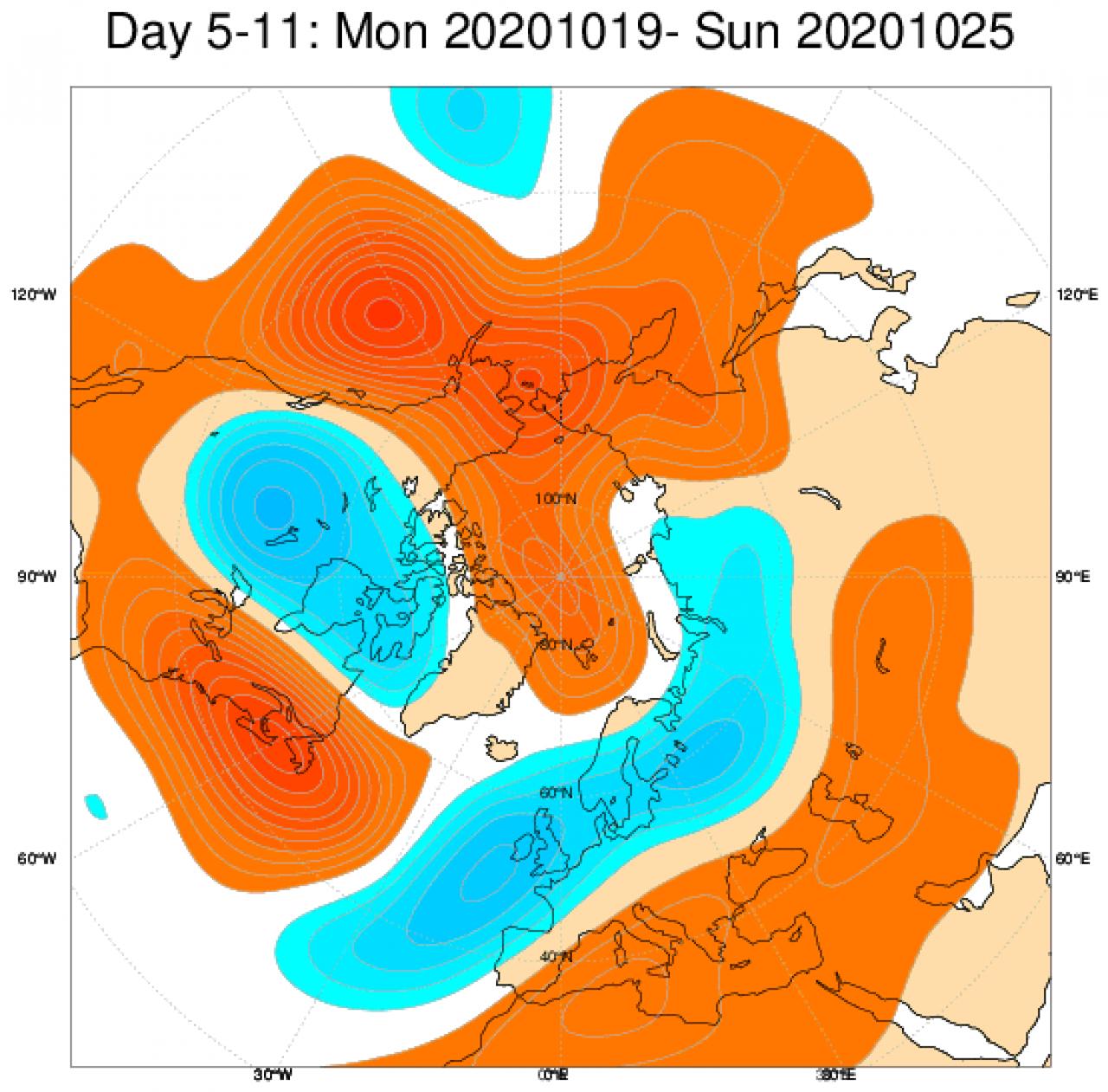 Le anomalie di geopotenziale a 500hPa secondo il modello ECMWF, mediate nel periodo 19-26 ottobre