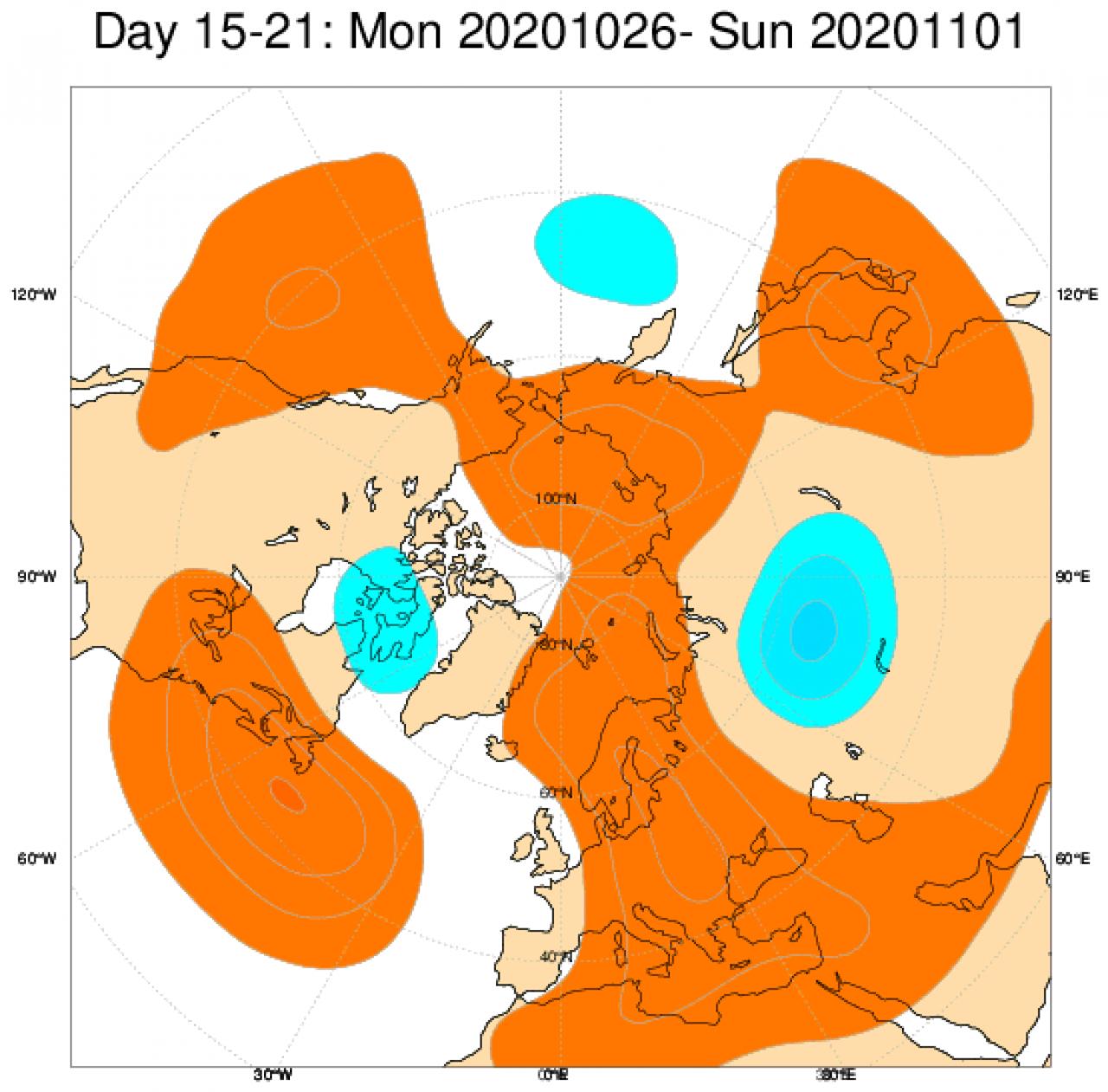Le anomalie di geopotenziale a 500hPa, secondo il modello ECMWF, mediate nel periodo 26 ottobre - 1 novembre