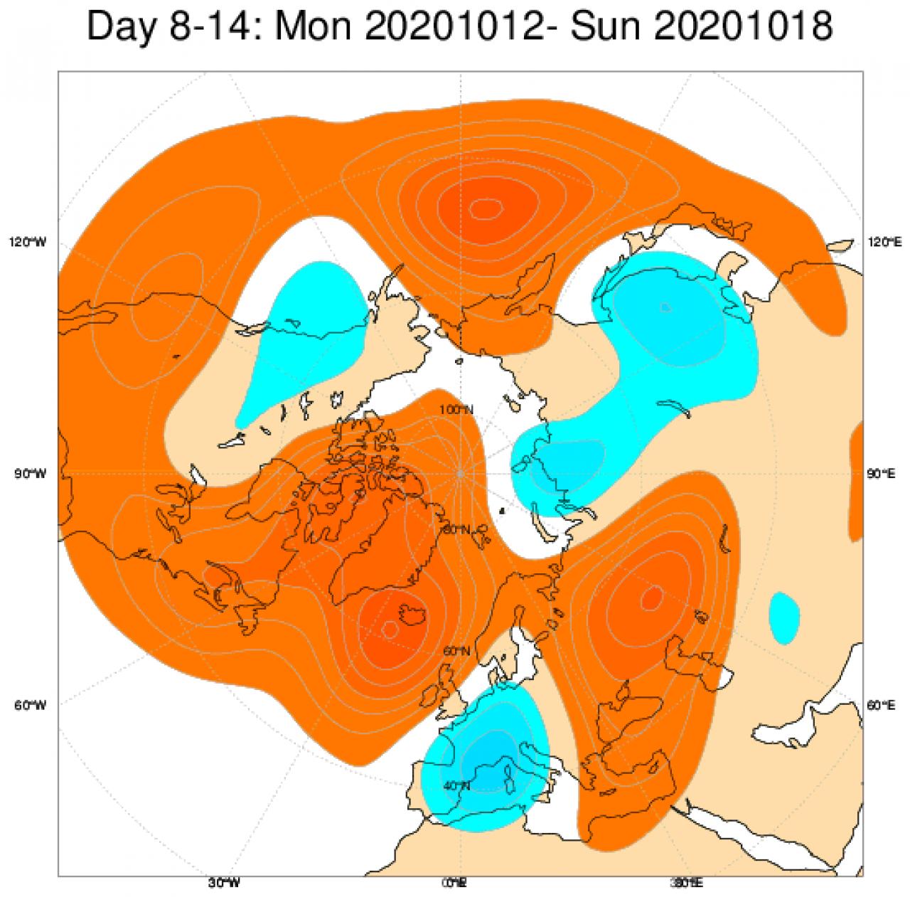 Le anomalie di geopotenziale a 500hPa secondo il modello ECMWF mediate sul periodo 12-18 ottobre