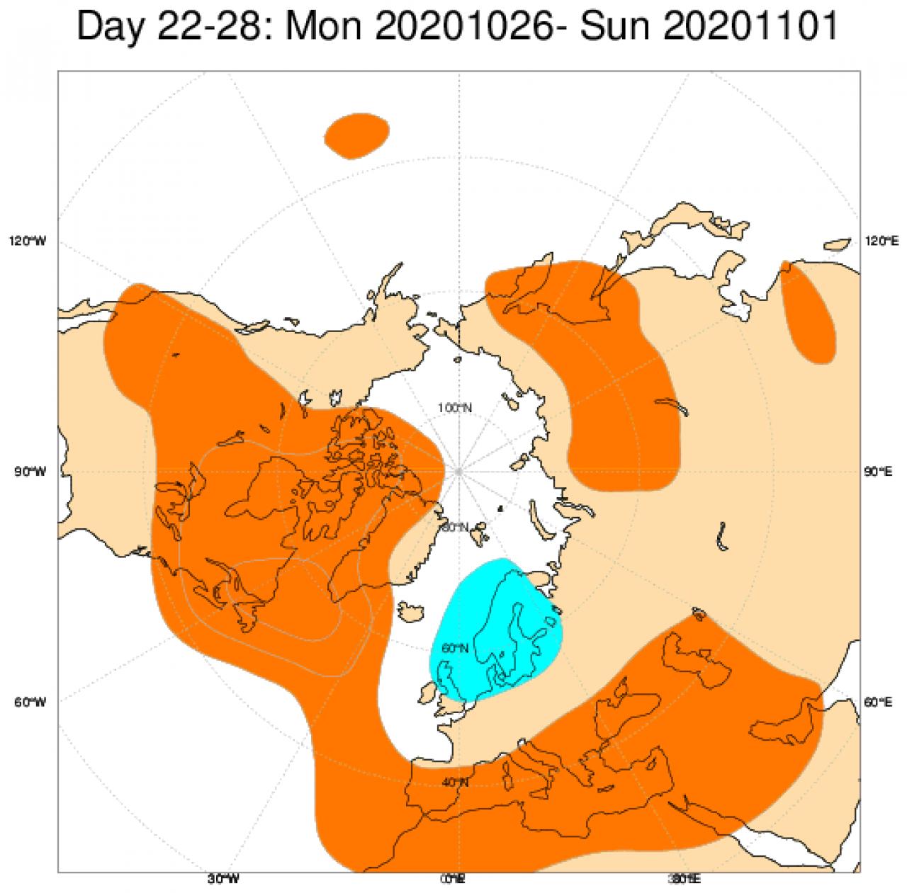 Le anomalie di geopotenziale a 500hPa secondo il modello ECMWF mediate sul periodo 26 ottobre - 1 novembre