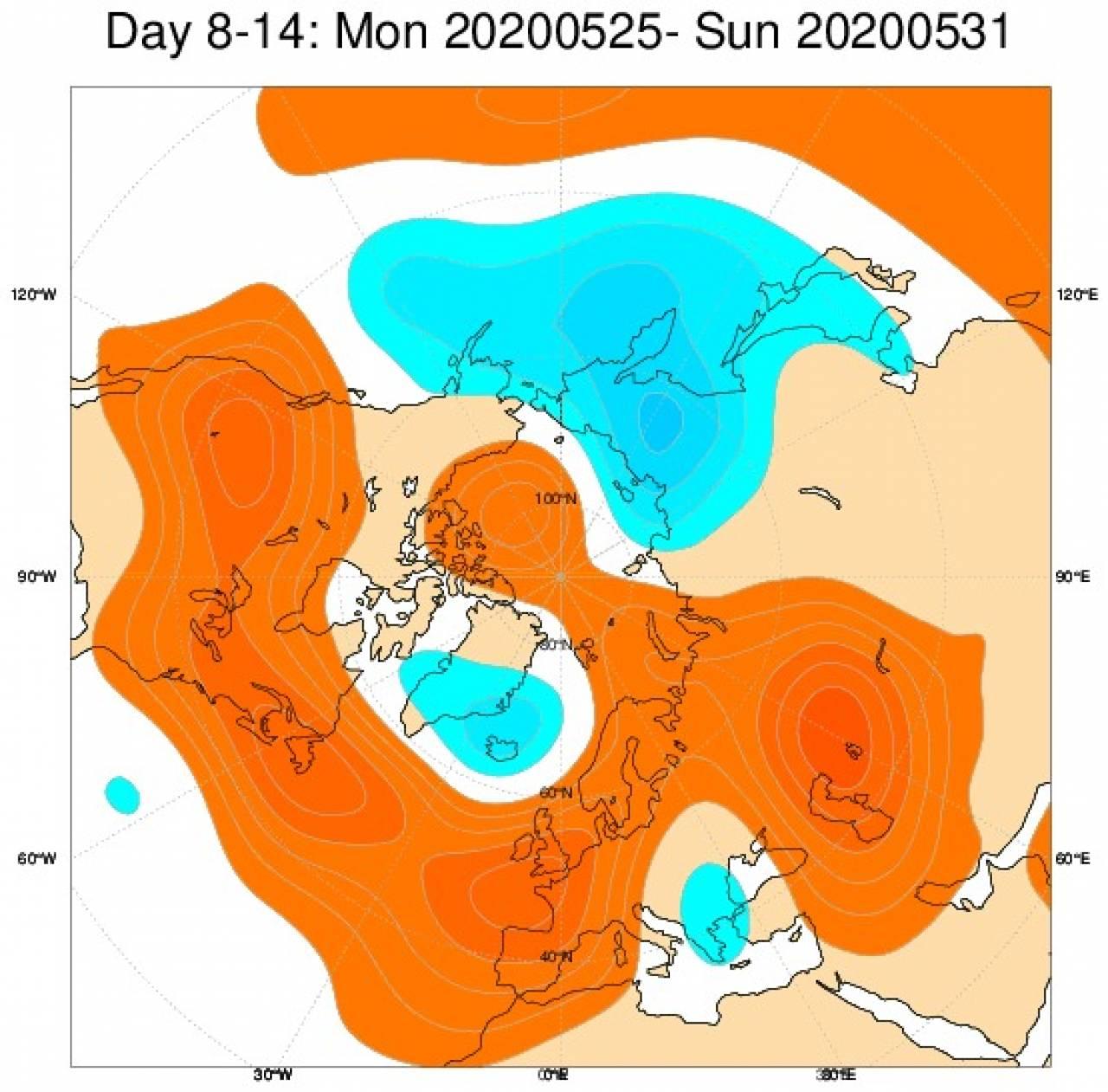 Le anomalie di geopotenziale a 500hPa secondo il modello Ecmwf per il periodo 25-31 maggio