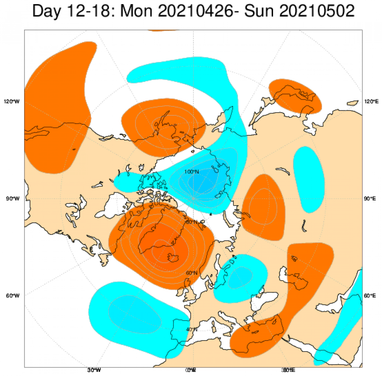 Le anomalie di geopotenziale (in blu sottomedia, in rosso sopramedia), secondo il modello ECMWF per il periodo 26 aprile - 2 maggio