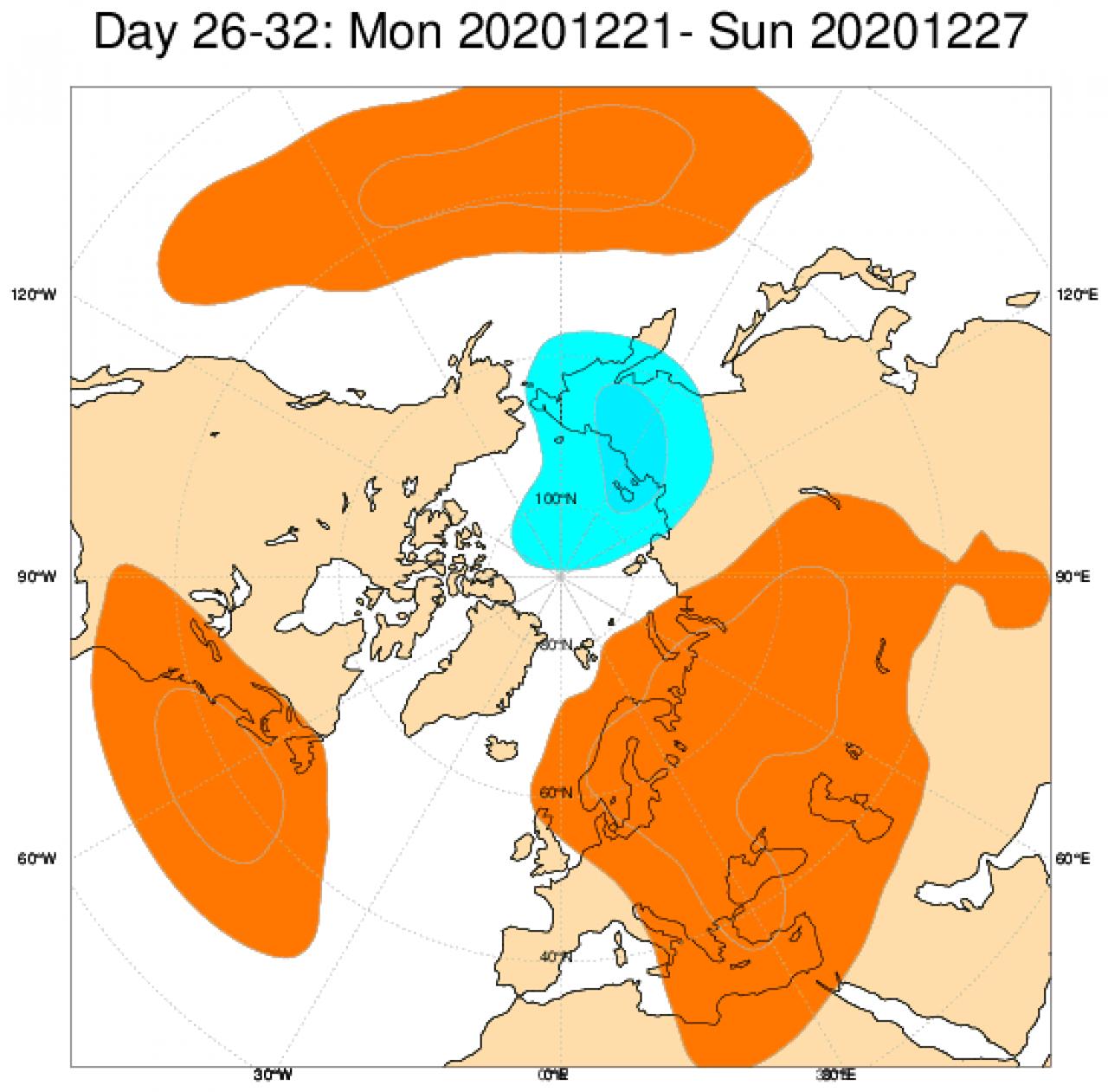 Le anomalie di geopotenziale in Europa, secondo il modello ECMWF, mediate nel periodo 21-27 dicembre
