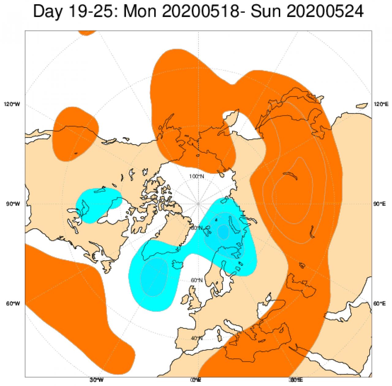 Le anomalie di geopotenziale mediate sul periodo 18-24 maggio secondo il modello ECMWF