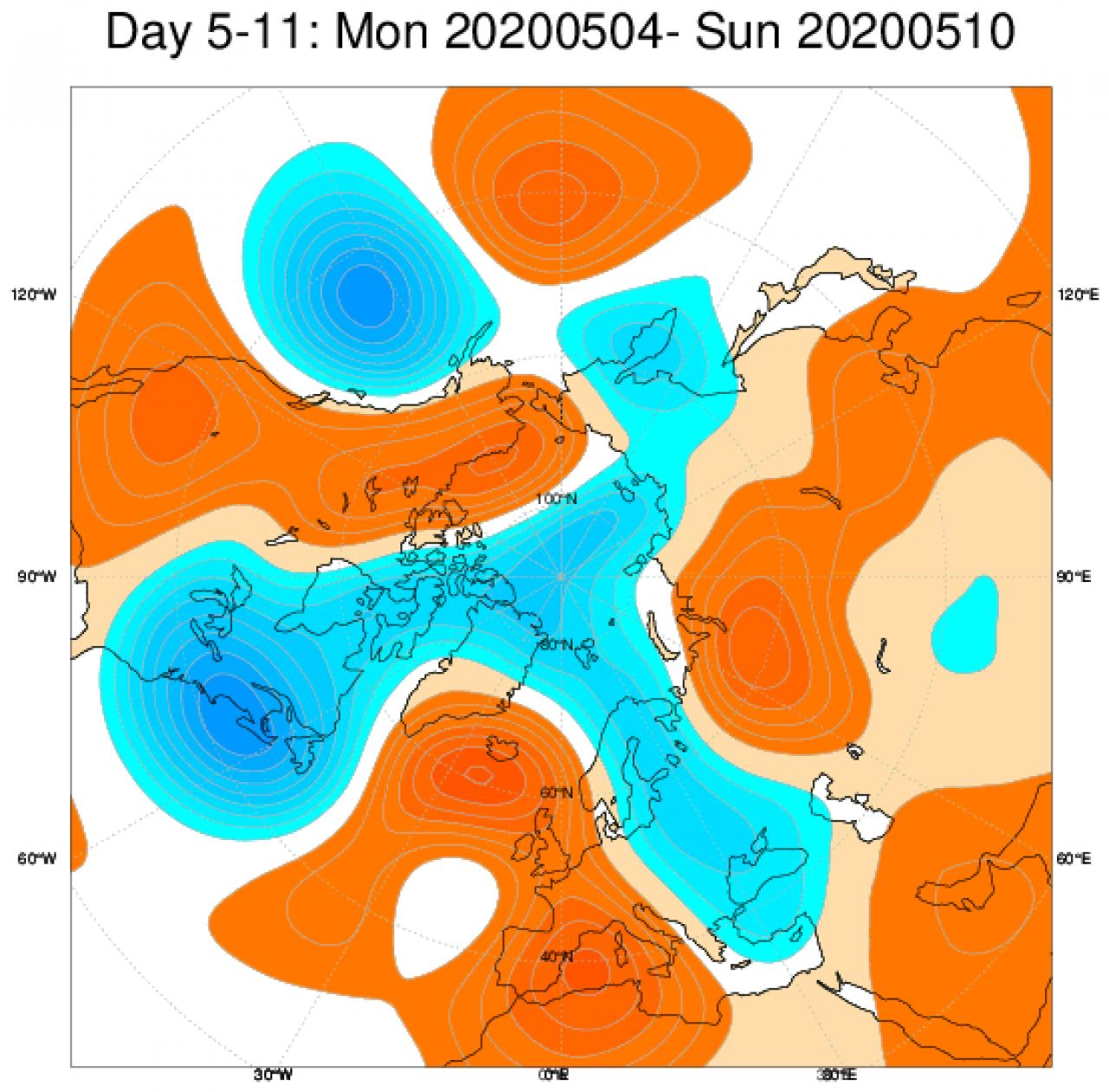 Le anomalie di geopotenziale mediate sul periodo 4-10 maggio secondo il modello ECMWF