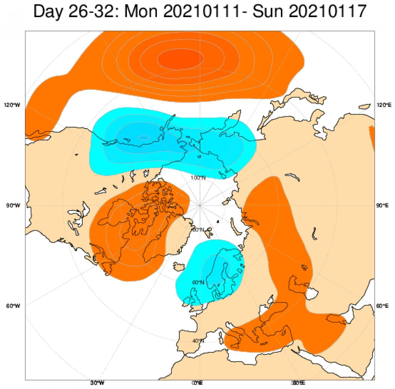 Le anomalie di geopotenziale secondo il modello ECMWF in Europa, mediate nel periodo 11 - 17 gennaio
