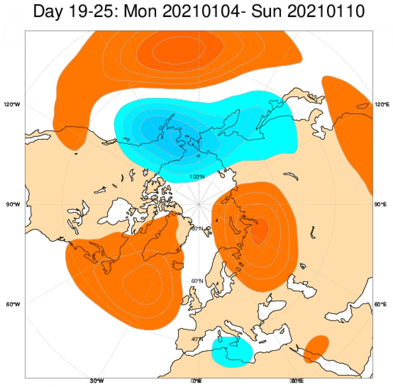 Le anomalie di geopotenziale secondo il modello ECMWF in Europa, mediate nel periodo 4 - 10 gennaio
