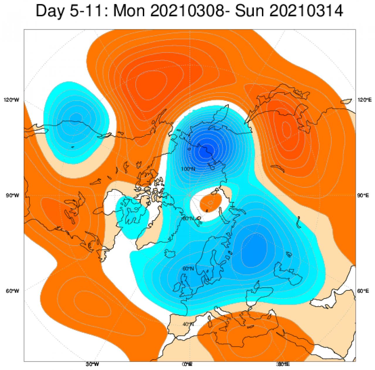 Le anomalie di geopotenziale secondo il modello ECMWF in Europa mediate nel periodo 8-14 marzo