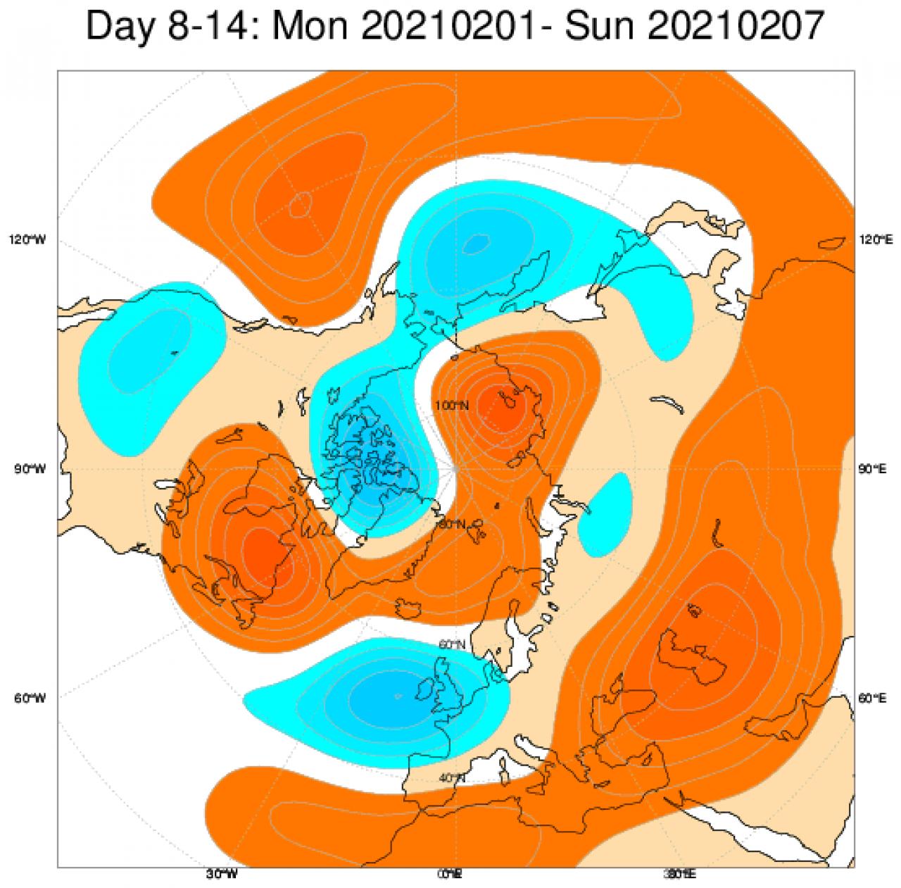 Le anomalie di geopotenziale secondo il modello ECMWF mediate in Europa sul periodo 1-7 febbraio