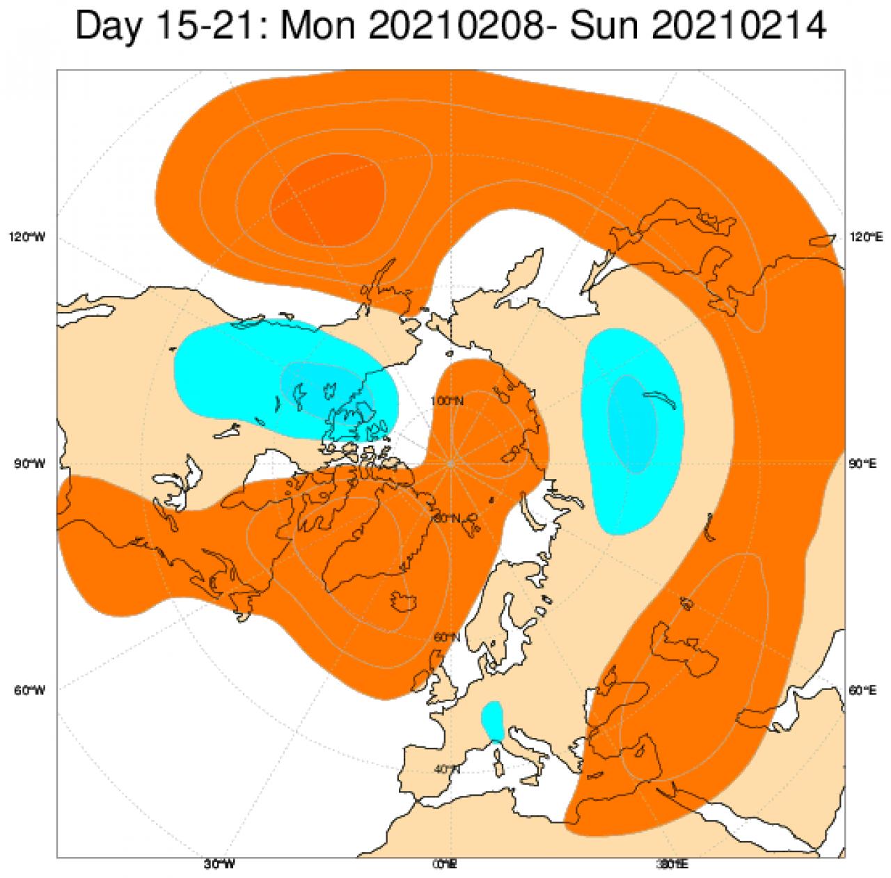 Le anomalie di geopotenziale secondo il modello ECMWF mediate in Europa sul periodo 8-14 febbraio