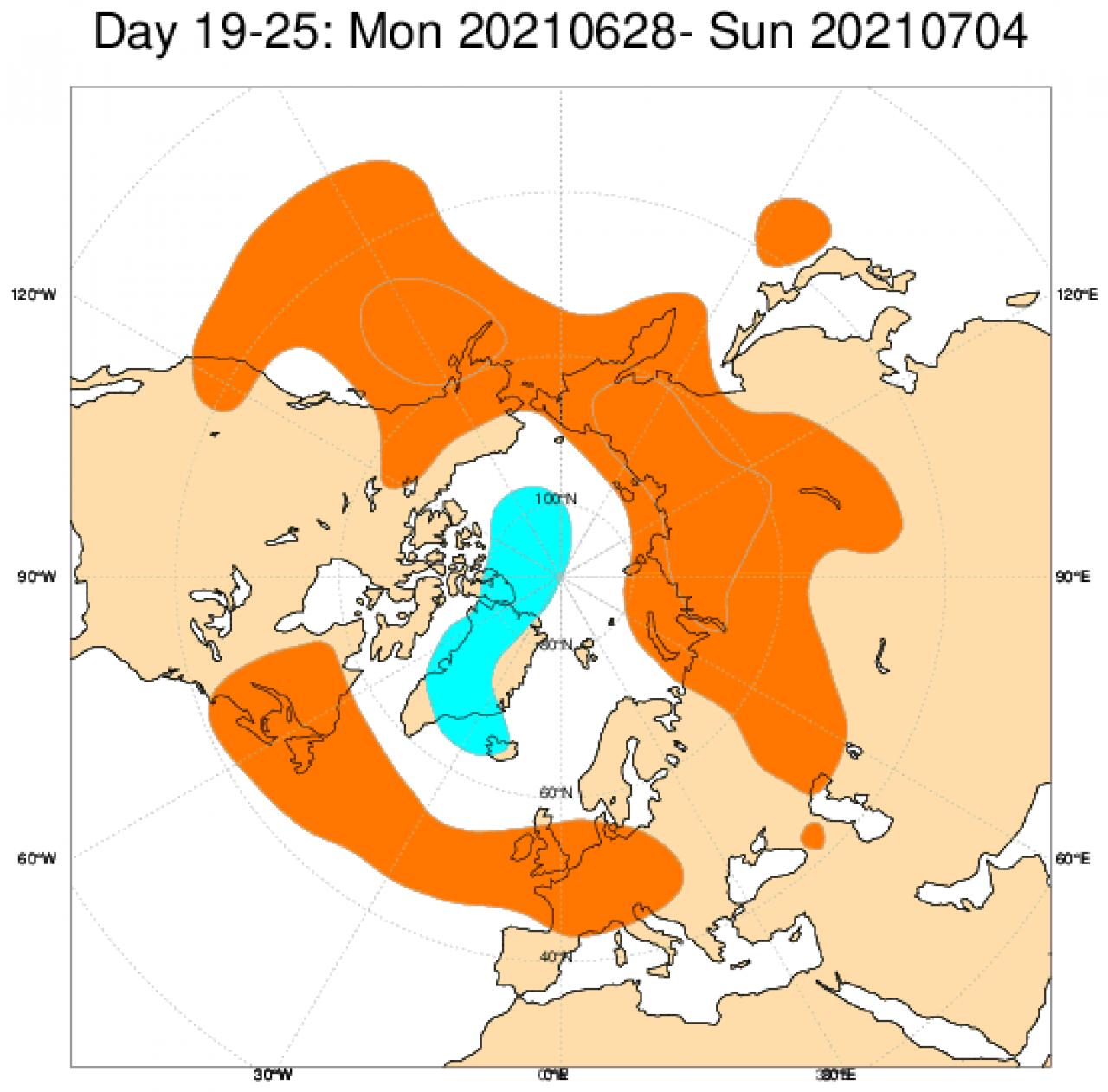 Le anomalie di geopotenziali in Europa secondo il modello ECMWF, mediate nel periodo 28 giugno - 4 luglio