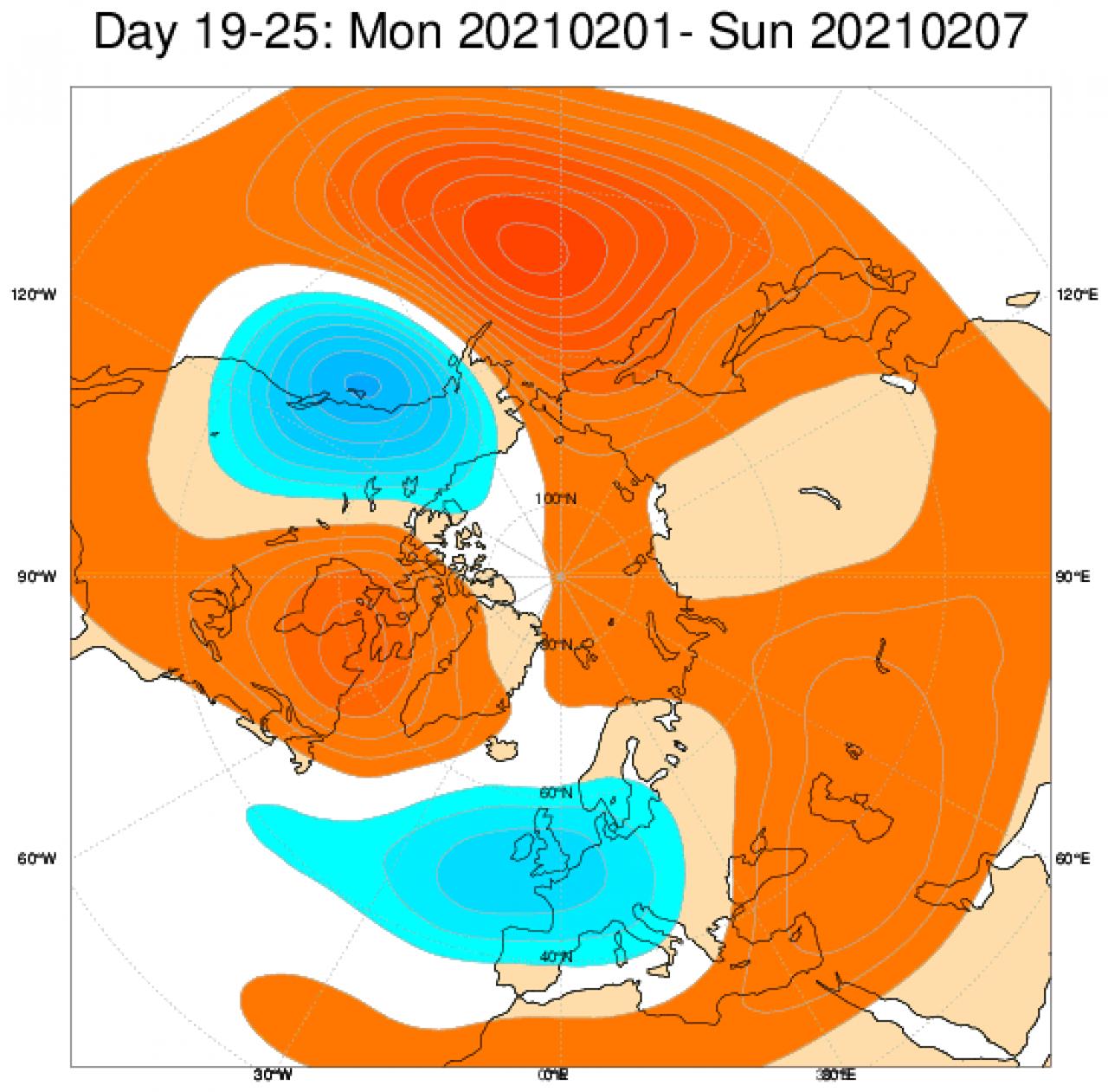 Le anomalie di geopotenziali sull'Europa, secondo il modello ECMWF, mediate sul periodo 1-7 febbraio
