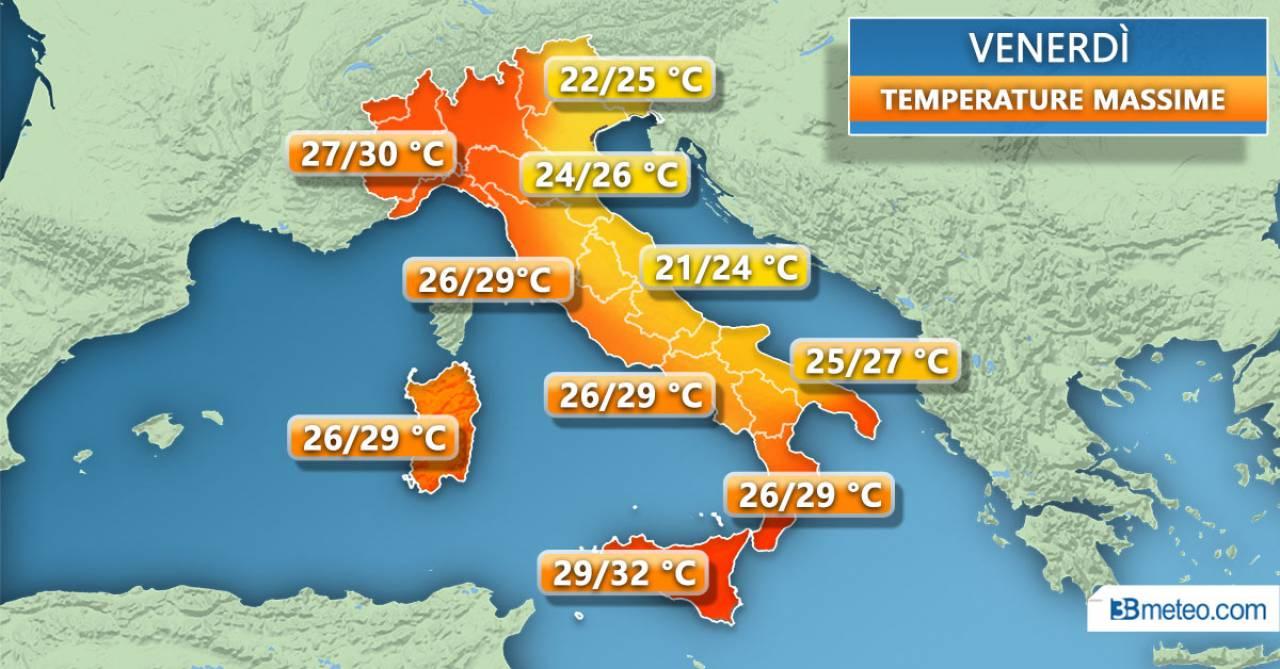 Le temperature attese venerdì 17 luglio