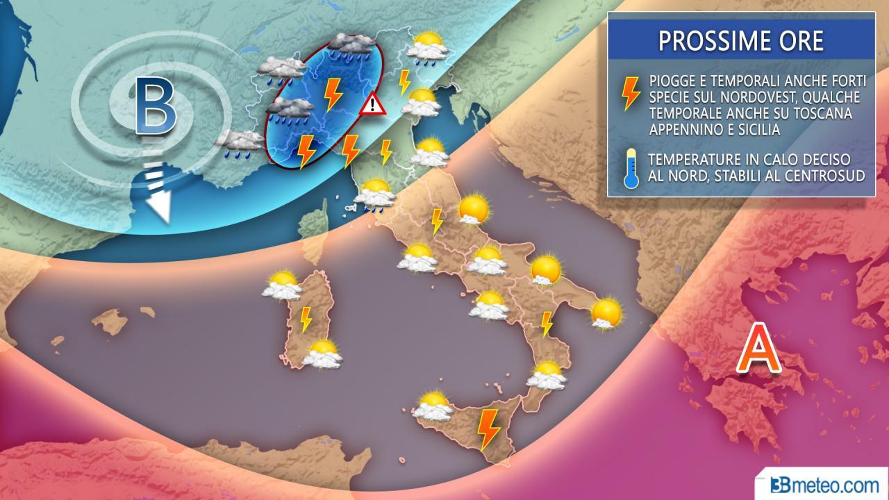 maltempo italia: le previsioni prossime ore