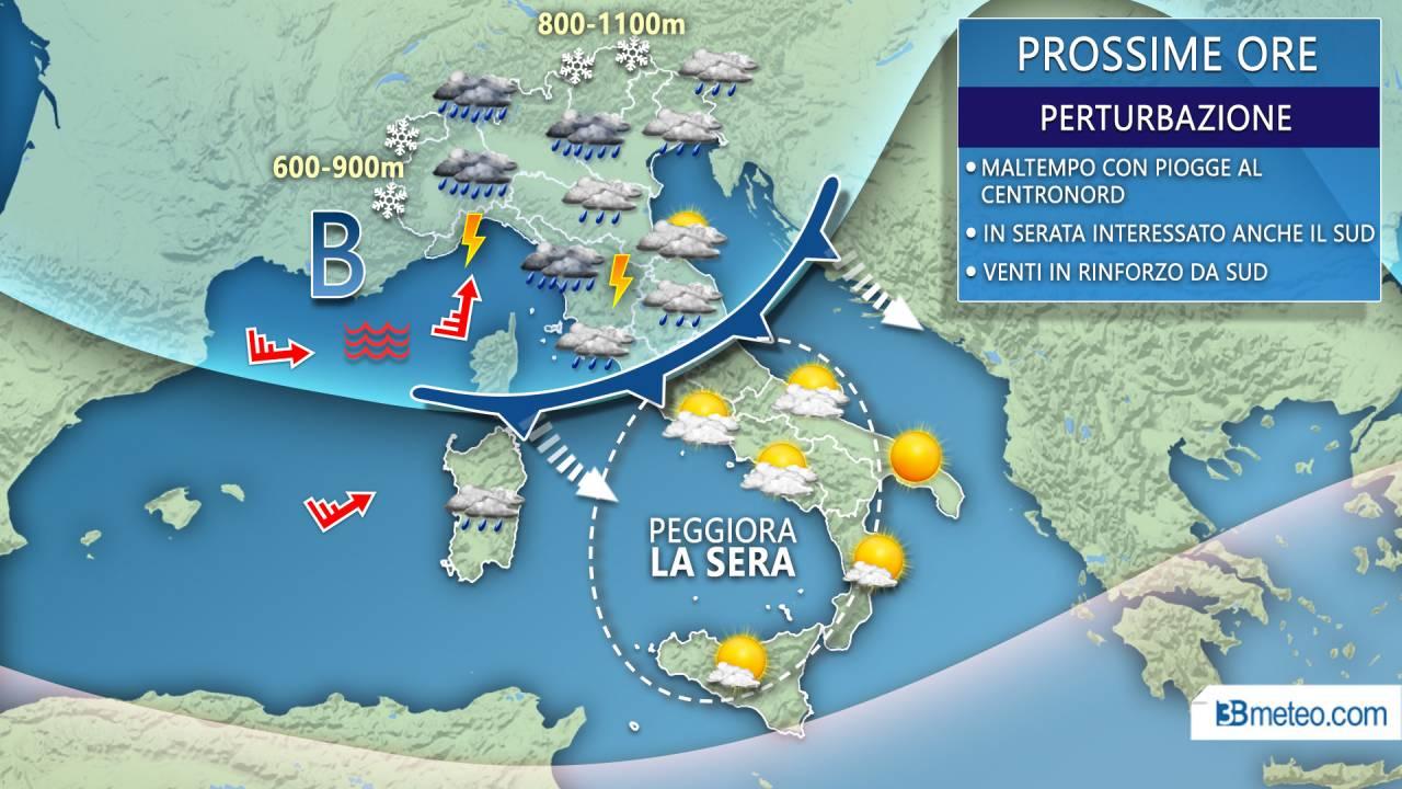 Maltempo lunedì su Nord e Tirreniche centrali con fenomeni anche intensi