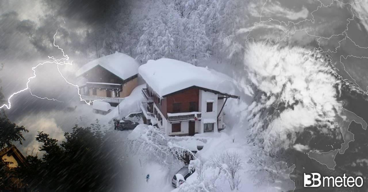 Maltempo, neve copiosa e freddo sull'Italia