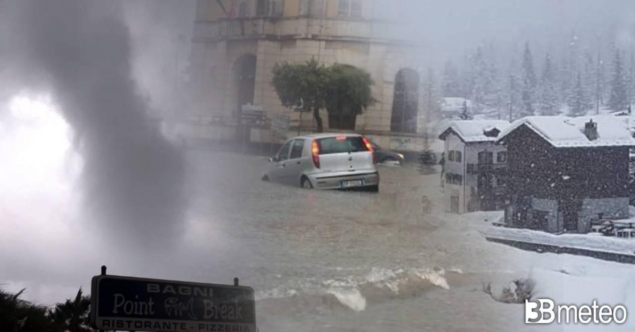 Maltempo sull'Italia tra allagamenti, neve e anche un tornado
